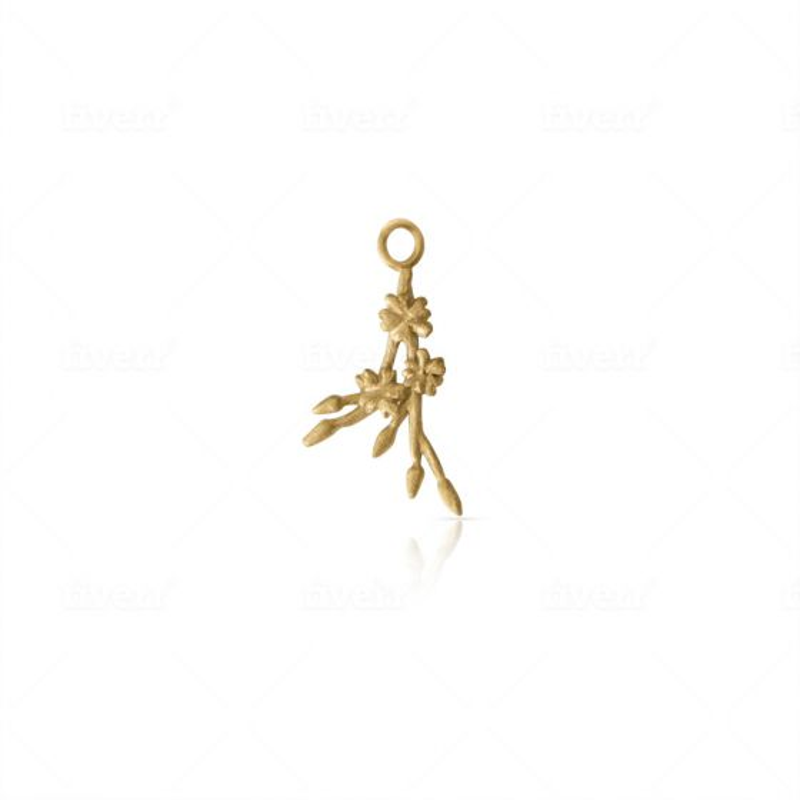 Gold Vermeil Licensed to Charm Cherry Blossom Sprig Charm