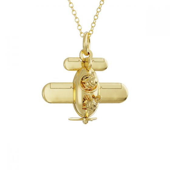 Gromit in a Plane Necklace 18ct Gold Vermeil