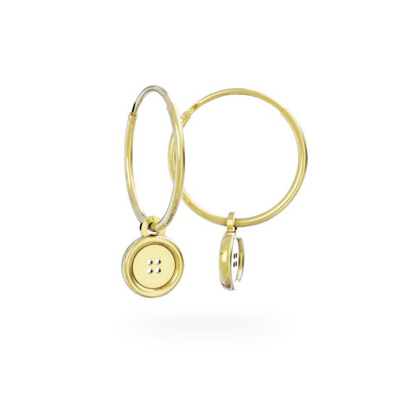 Miffy - 18ct Gold Vermeil Button Hoop Earrings