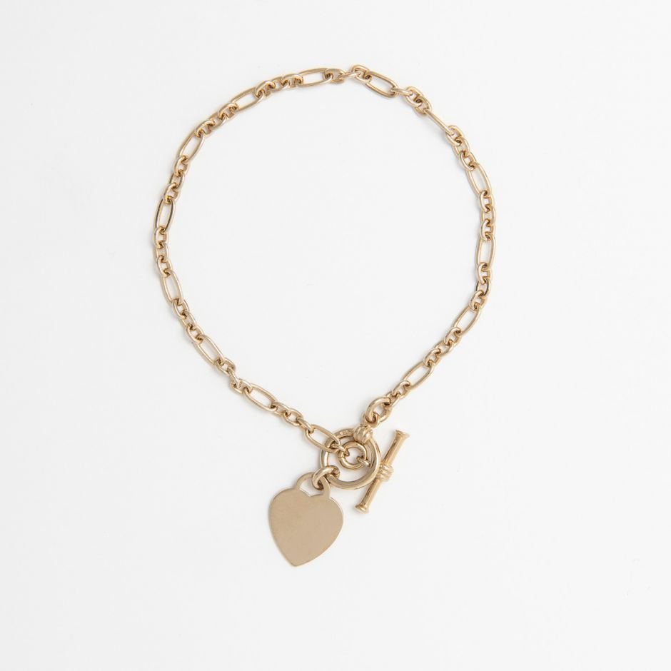 18CT GOLD VERMEIL HEART T-BAR BRACELET