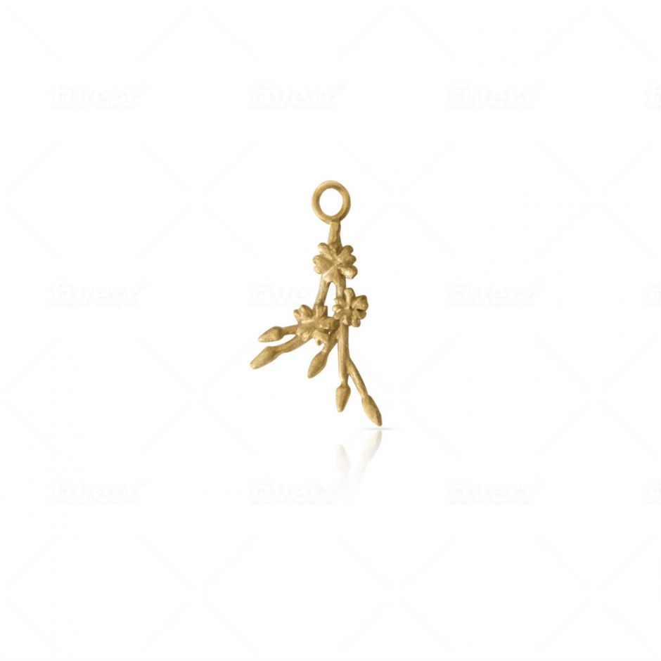Gold Vermeil Licensed to Charm Cherry Blossom Sprig Charm