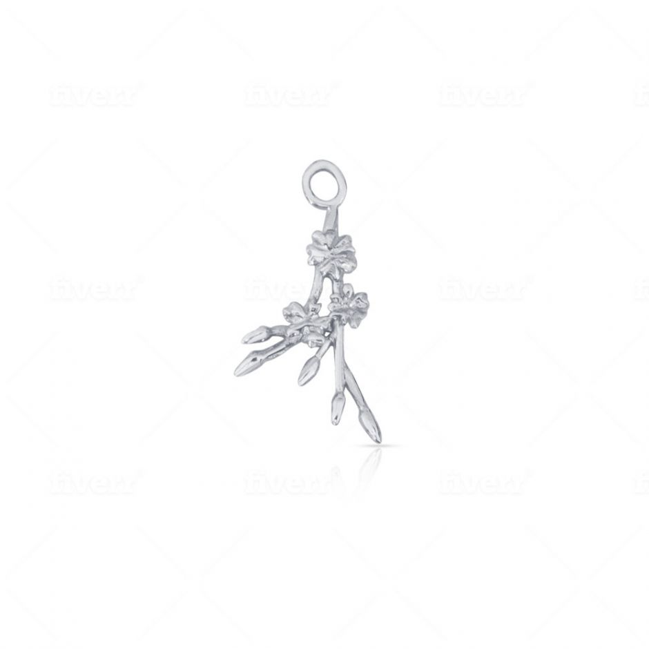 Sterling Silver Licensed to Charm Cherry Blossom Sprig Charm