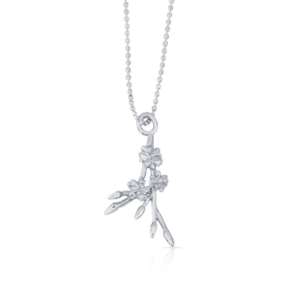 Sterling Silver Licensed to Charm Cherry Blossom Sprig Necklace Set