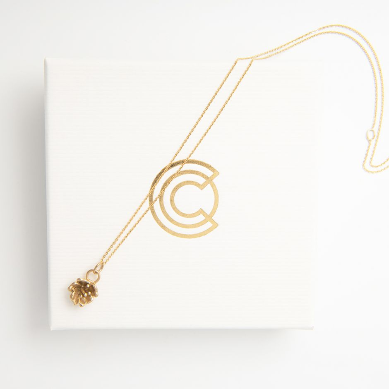 Single Cherry Blossom Necklace Gold Vermeil