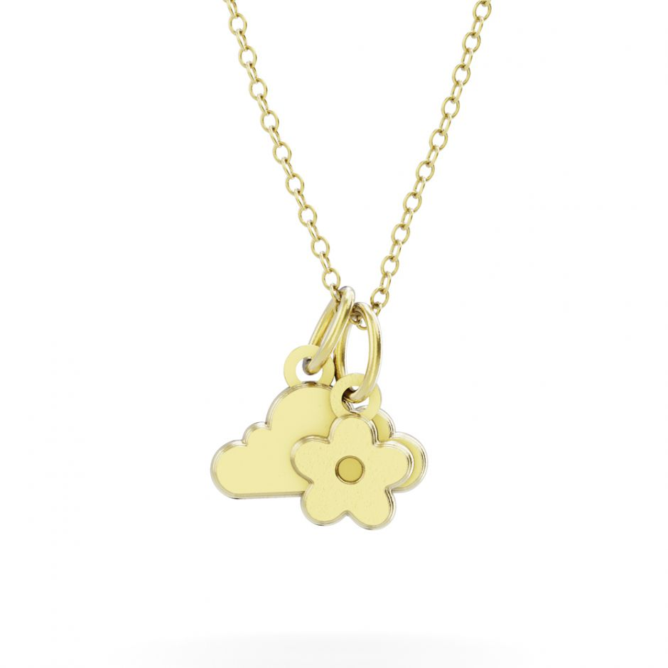 Shaun The Sheep - Gold Vermeil Cloud & Flower Necklace Set