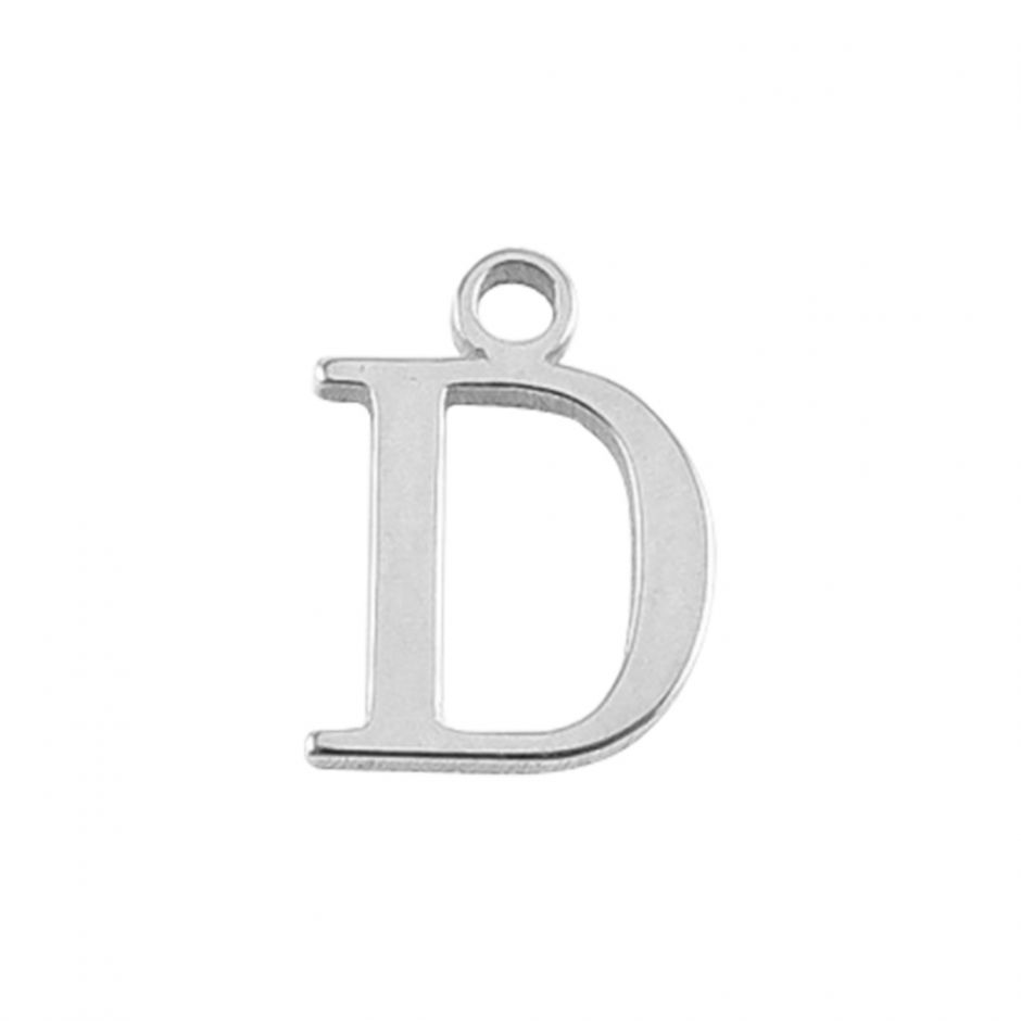 Sterling Silver Mini Alphabet Charm - D