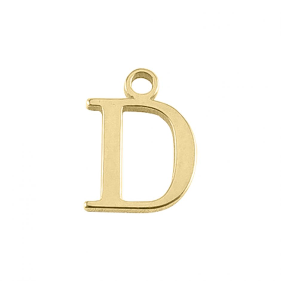 Gold Vermeil Mini Alphabet Charm - D