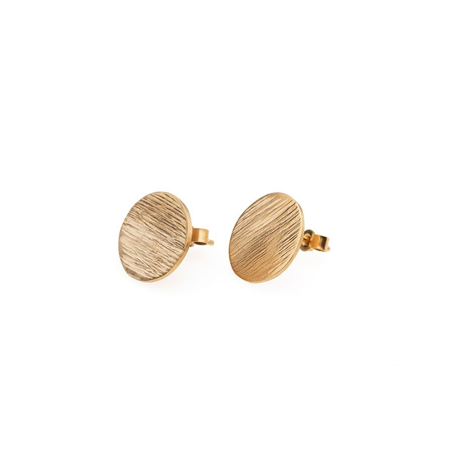 High Line Disc Stud Earrings 9ct Gold Vermeil
