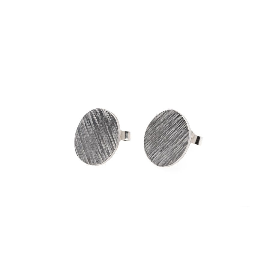 Sterling Silver High Line Disc Stud Earrings