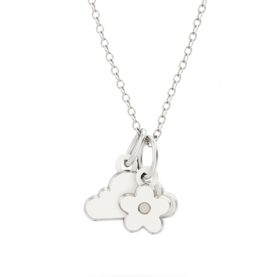 Shaun The Sheep - Sterling Silver Cloud & Flower Necklace Set