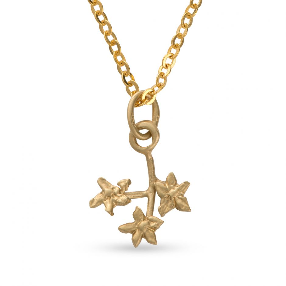 Licensed to Charm - Gold Vermeil Forget Me Not Sprig Necklace Set