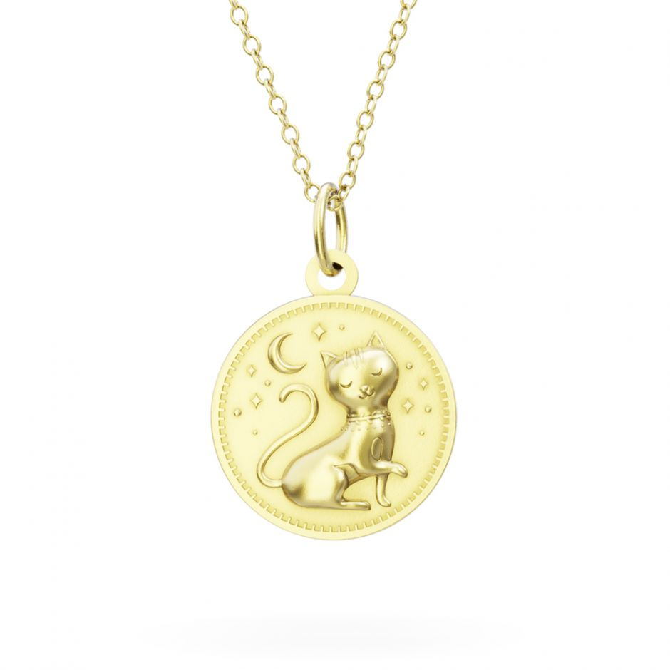 Gold Vermeil Enchanted Animals Cat Necklace Set