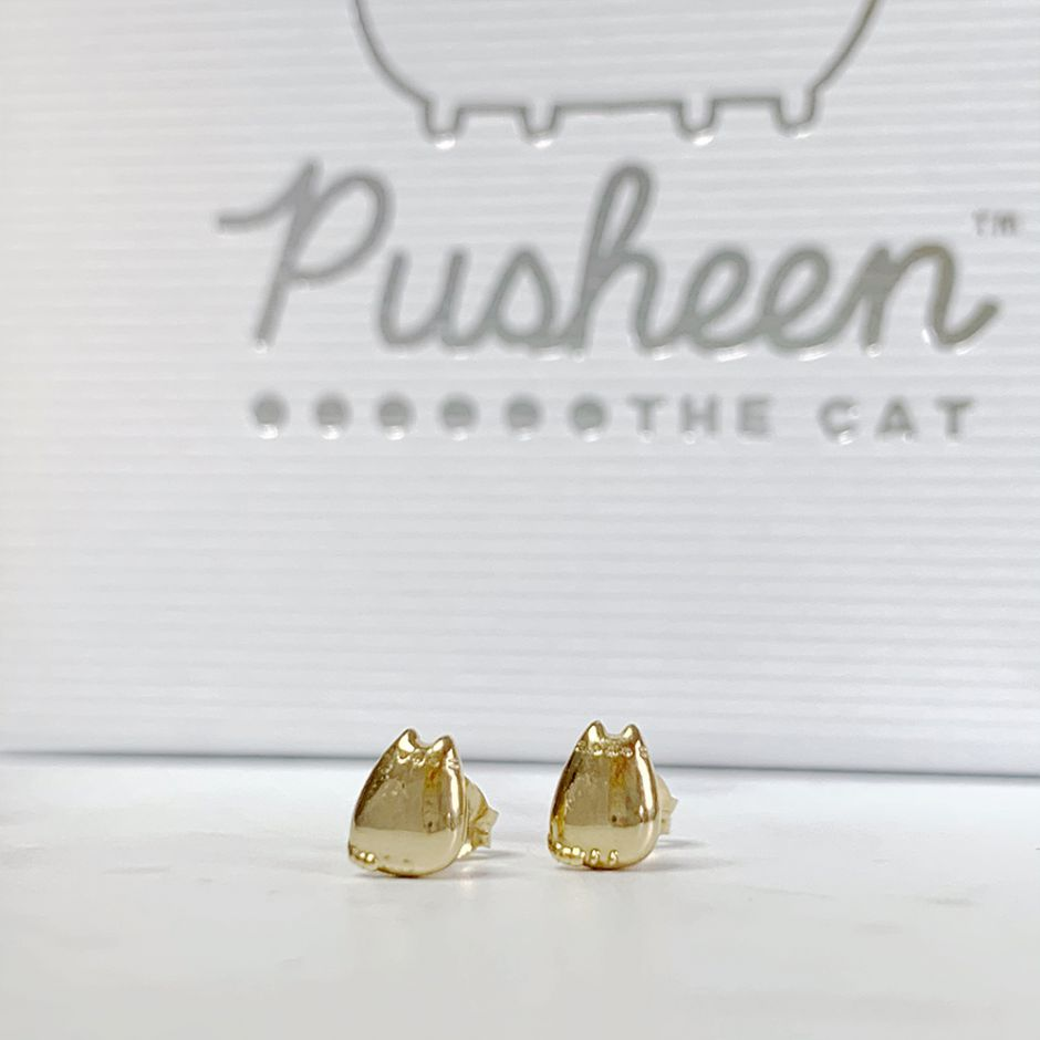 Pusheen Stud Earrings 18ct Gold Vermeil