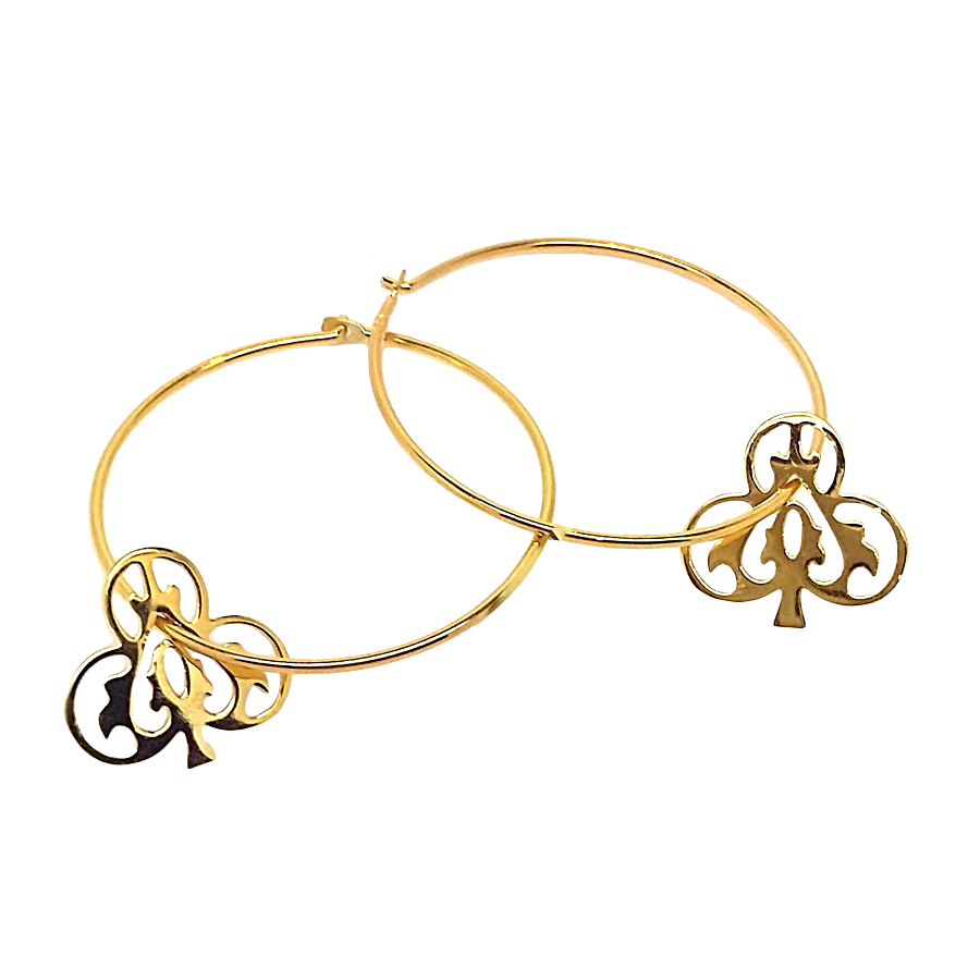 Gold Ace Of Clubs Hoops