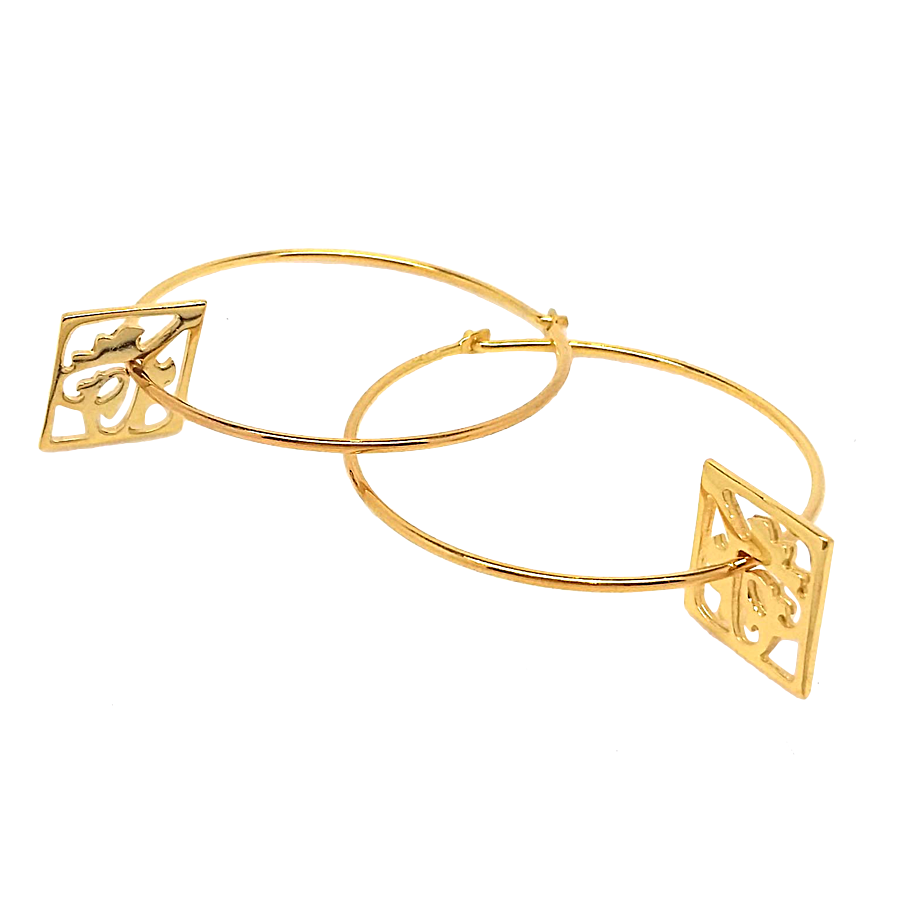 Ace of Diamonds Gold Hoop Earrings