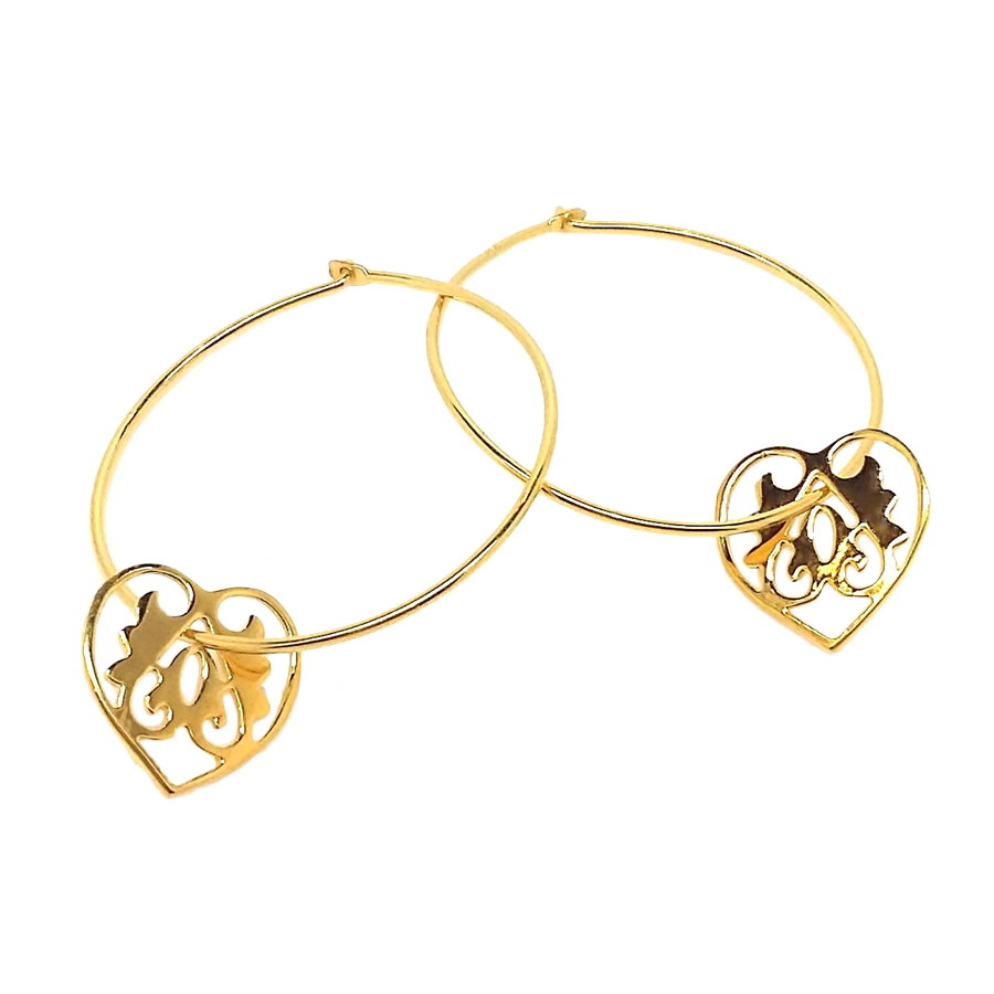 Ace of Hearts Gold Hoop Earrings