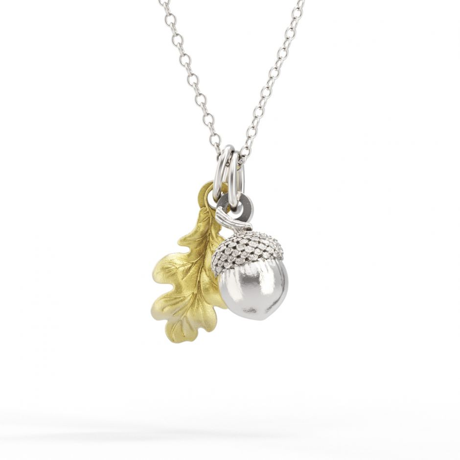 Watership Down - Gold Vermeil Oak Leaf & Sterling Silver Acorn Necklace Set
