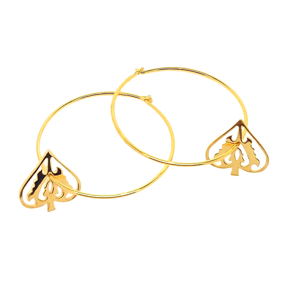 Gold Ace Of Spades Hoops