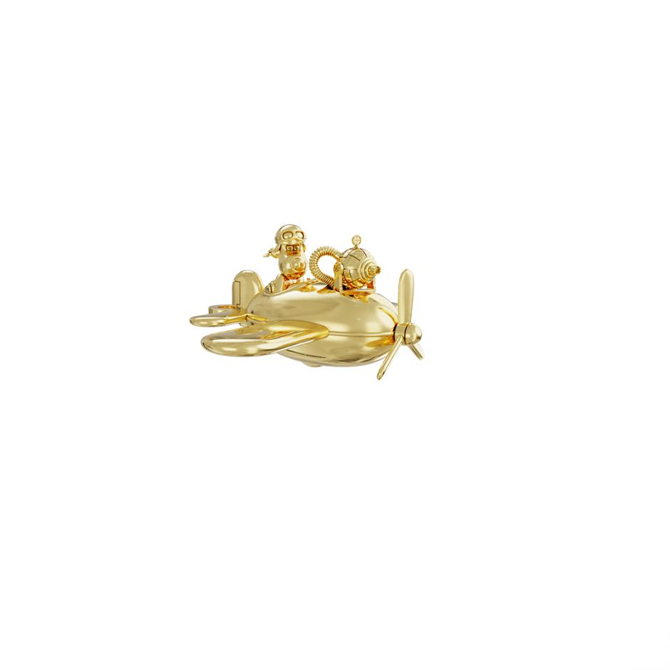 Gromit in a Plane Charm 18ct Gold Vermeil