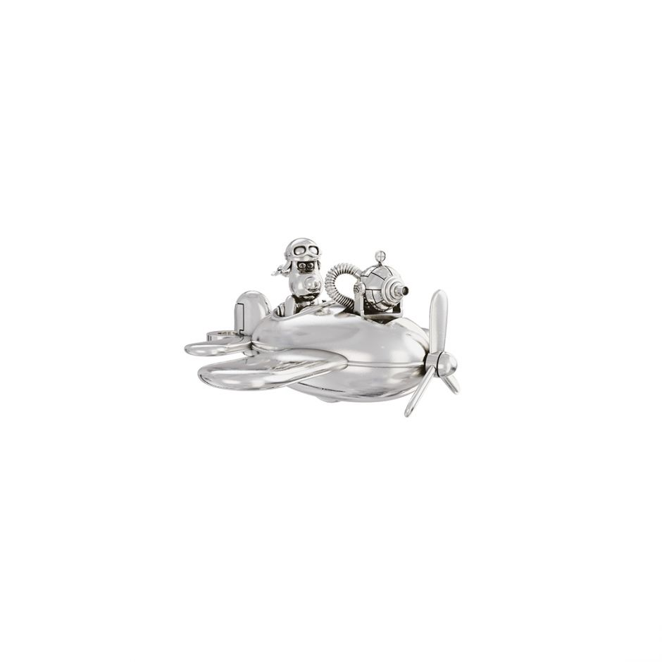 Gromit in a Plane Charm Sterling Silver
