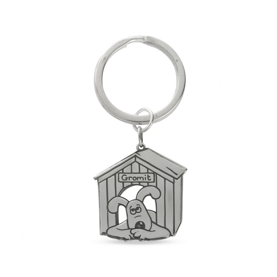 Sterling Silver Etched Gromit Kennel Keyring