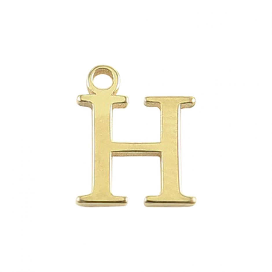 Gold Vermeil Mini Alphabet Charm - H