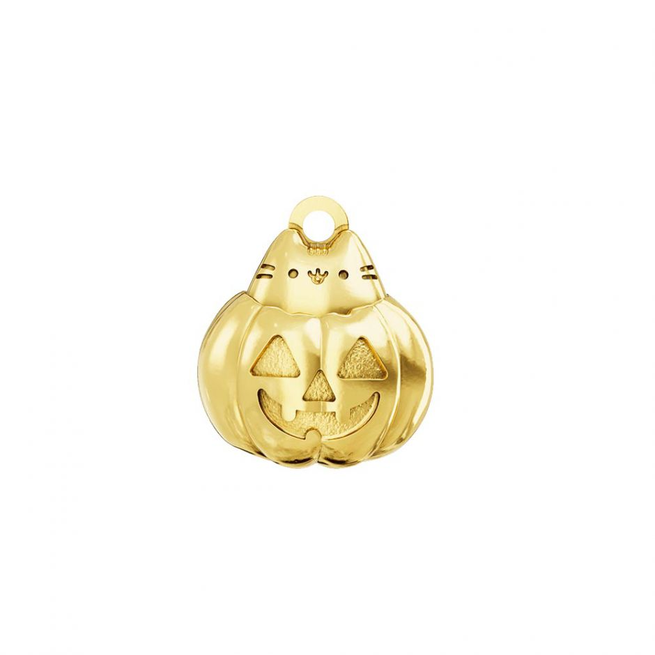 Pusheen 18ct Gold Vermeil Pumpkin Cat Charm