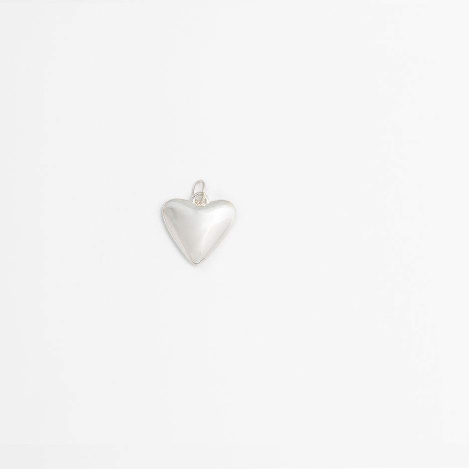 Heart Charm Sterling Silver Large