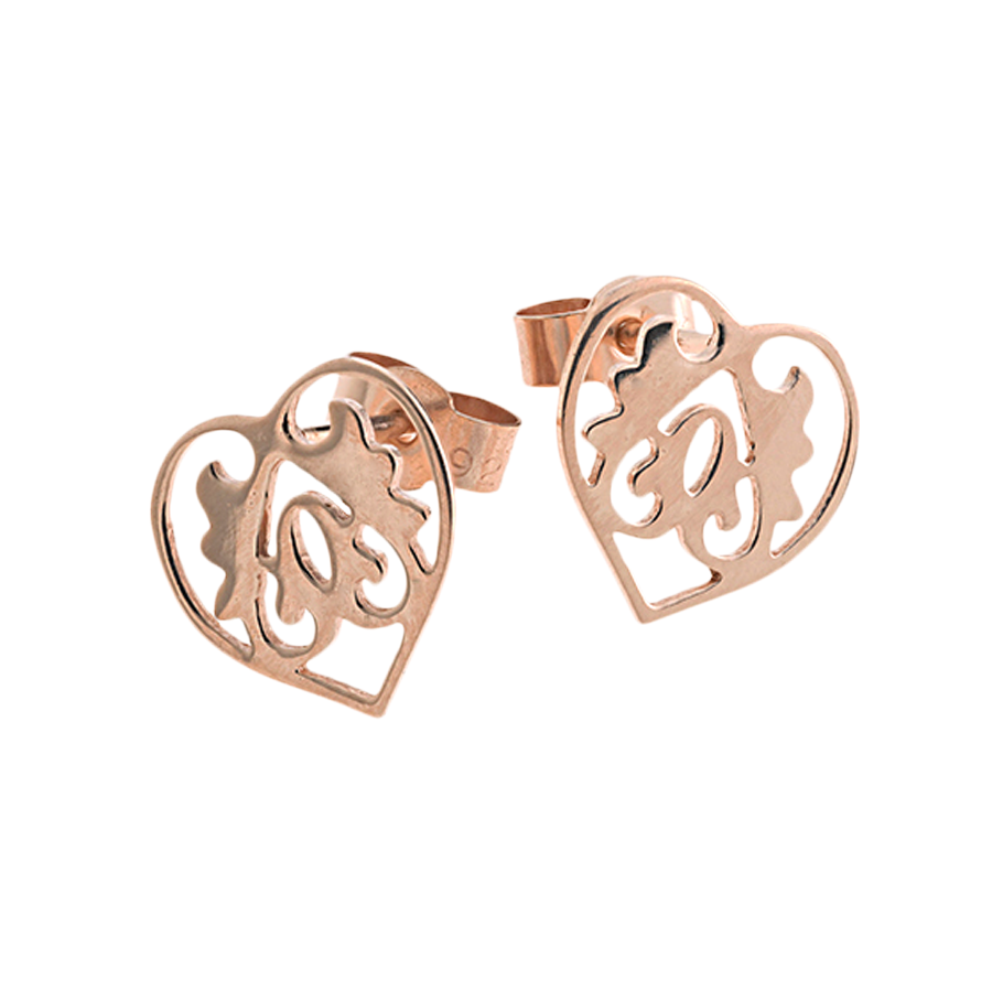 Rose Gold Ace Of Hearts Studs