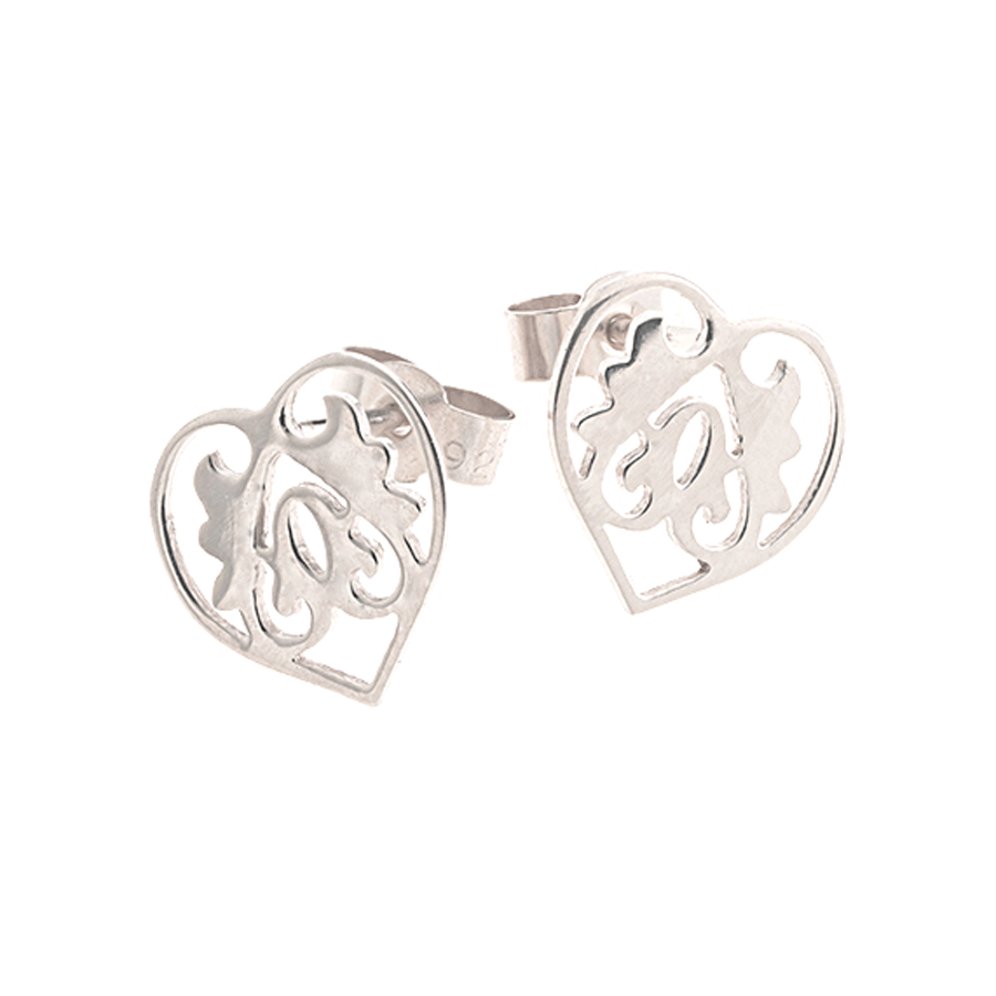 Silver Ace of Hearts Studs