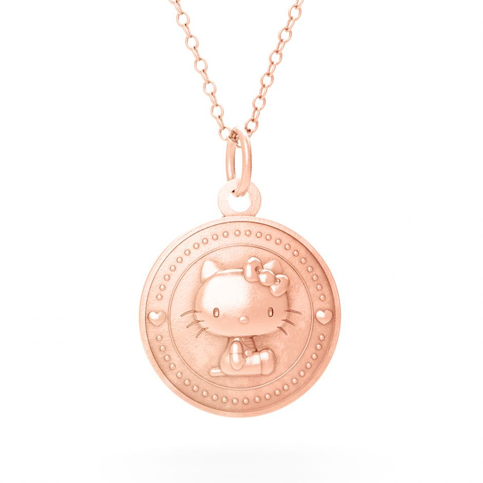 Hello Kitty 18ct Rose Gold Kitty Coin Necklace Set