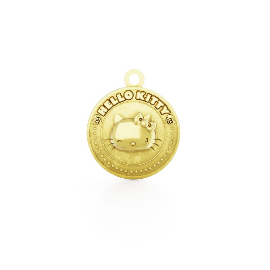 Hello Kitty - 18ct Gold Vermeil Winking Kitty Coin Charm