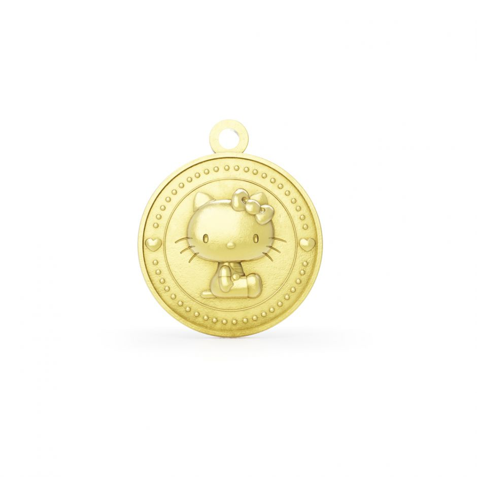 LIMITED EDITION Hello Kitty - 18ct Gold Vermeil Kitty Coin Charm
