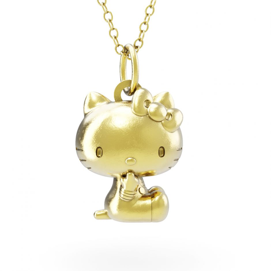 Hello Kitty - 18ct Gold Vermeil Sitting Kitty Necklace Set