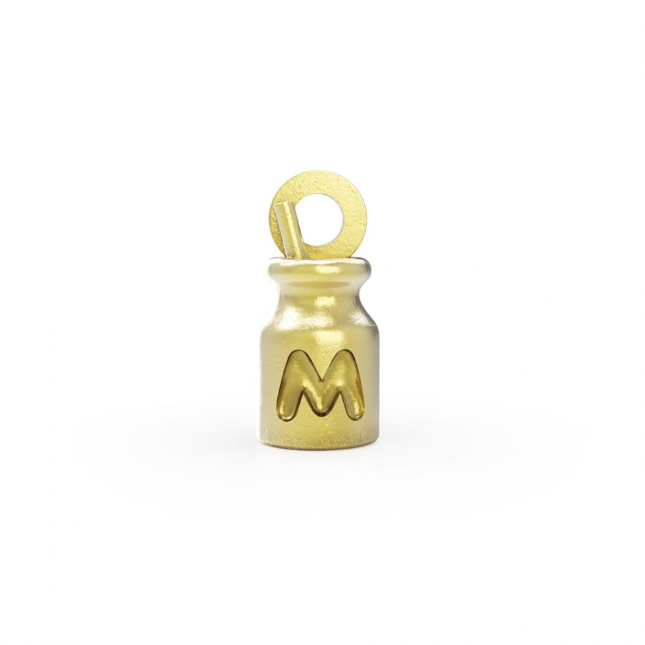 Hello Kitty - 18ct Gold Vermeil Milk Bottle Mini Charm