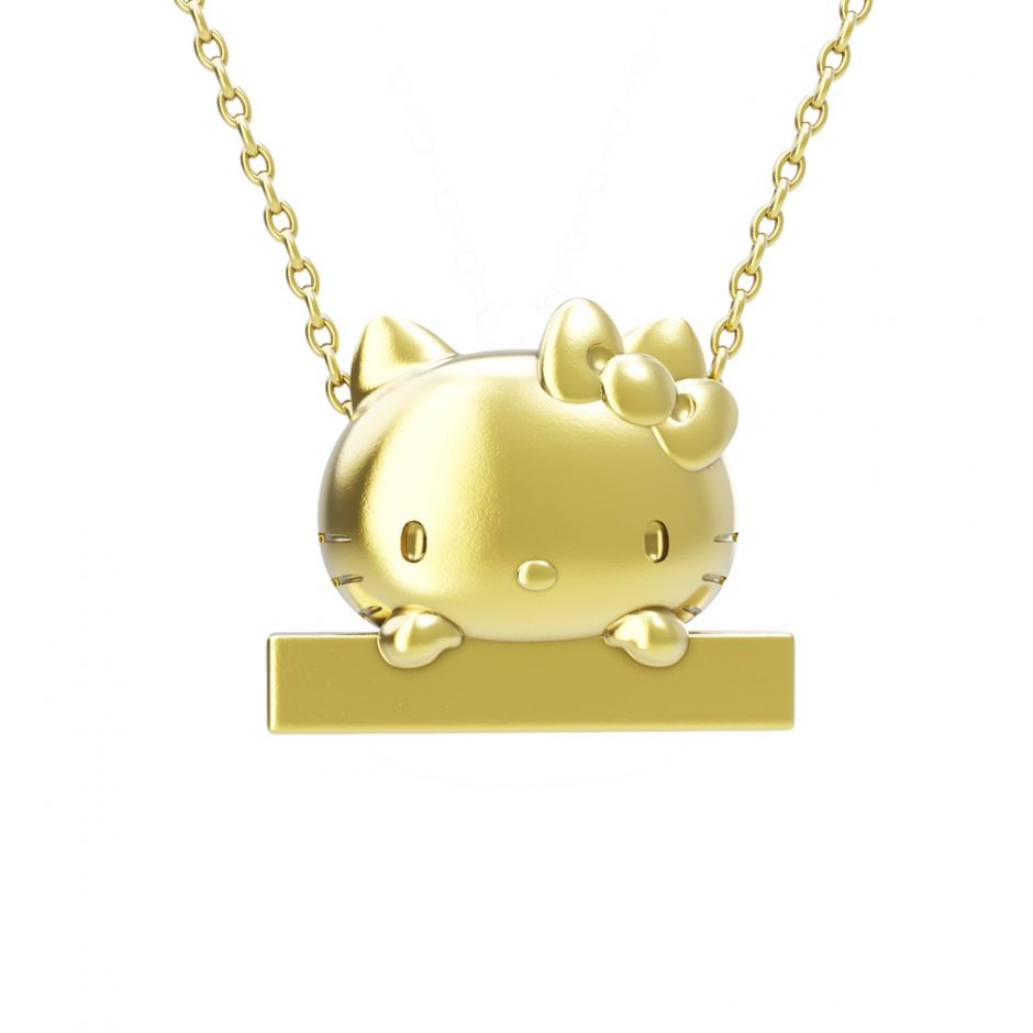 Hello Kitty - 18ct Gold Vermeil Peek-A-Boo Bar Necklace
