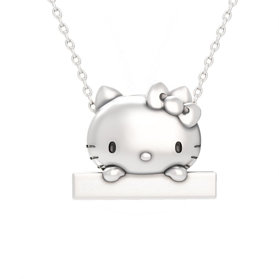 Hello Kitty - Sterling Silver Peek-A-Boo Bar Necklace