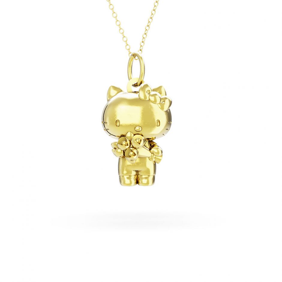 Hello Kitty - 18ct Gold Vermeil  Kitty with Flowers Necklace