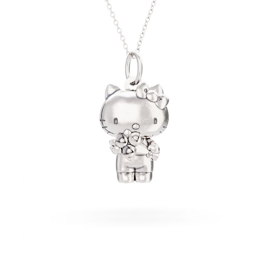 Hello Kitty - Sterling Silver Kitty with Flowers Necklace