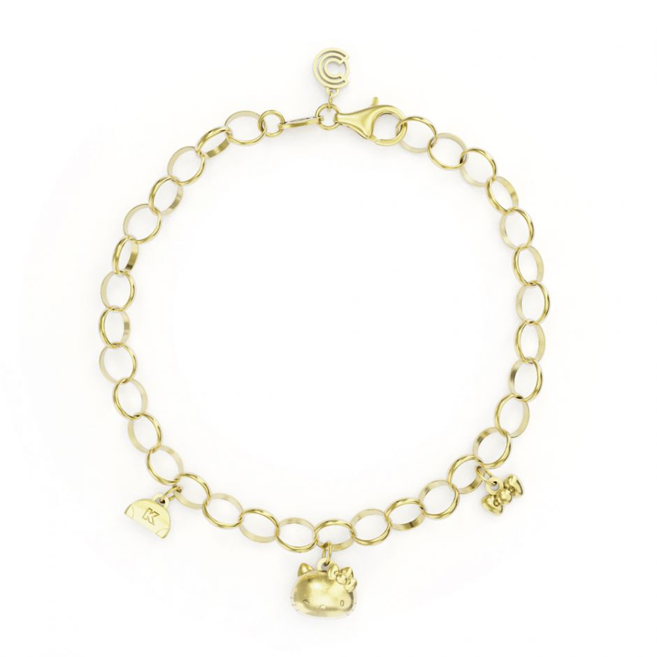 Hello Kitty - Gold Vermeil Triple Charm Bracelet