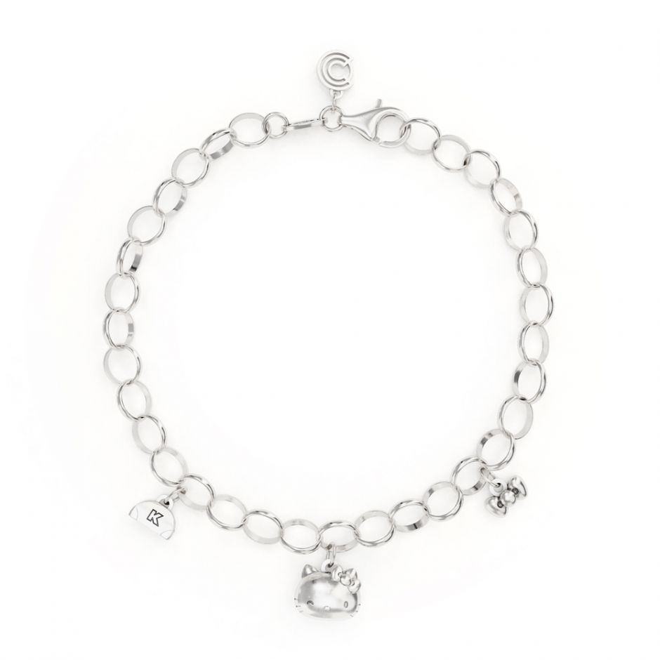 Hello Kitty - Sterling Silver Triple Charm Bracelet