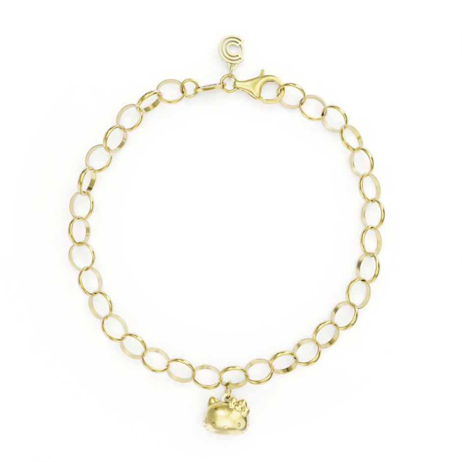 Hello Kitty - Gold Vermeil Single Charm Bracelet with Kitty Head