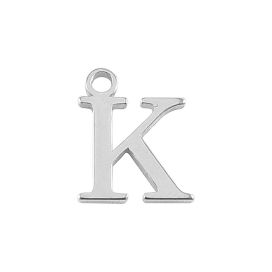 Sterling Silver Mini Alphabet Charm - K