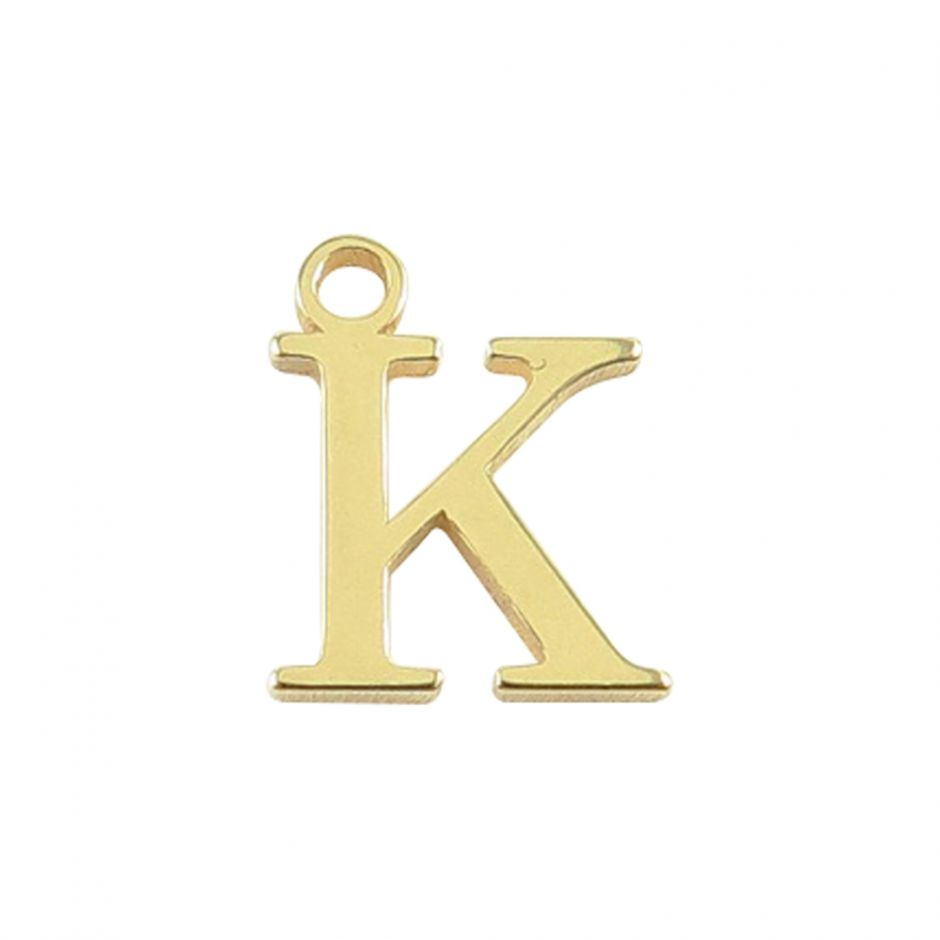 Gold Vermeil Mini Alphabet Charm - K