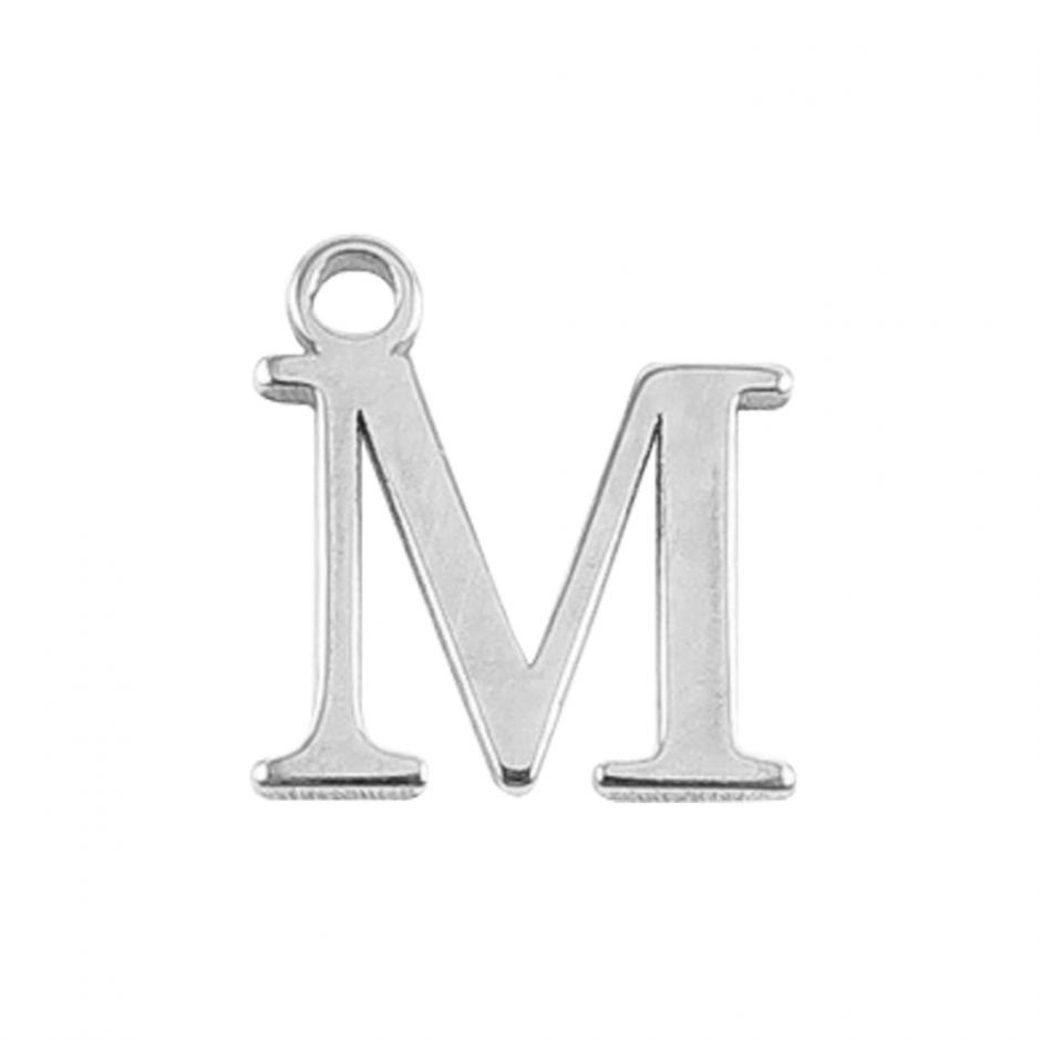 Sterling Silver Mini Alphabet Charm - M