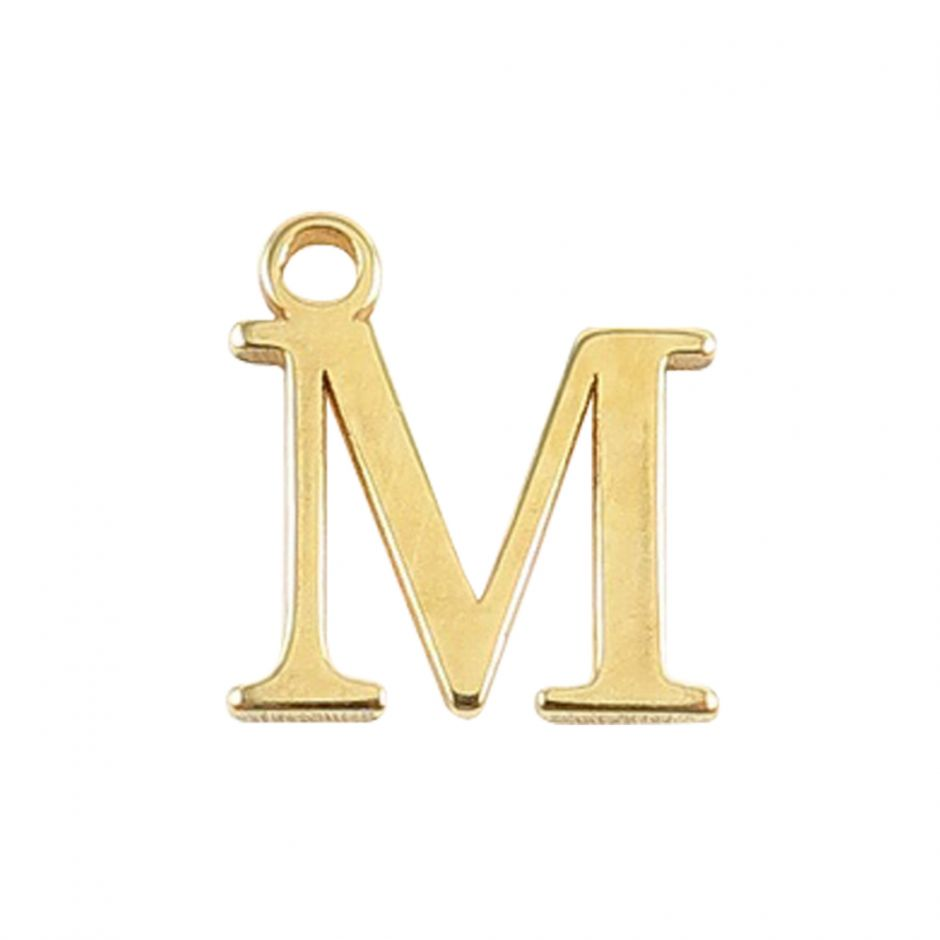 Gold Vermeil Mini Alphabet Charm - M