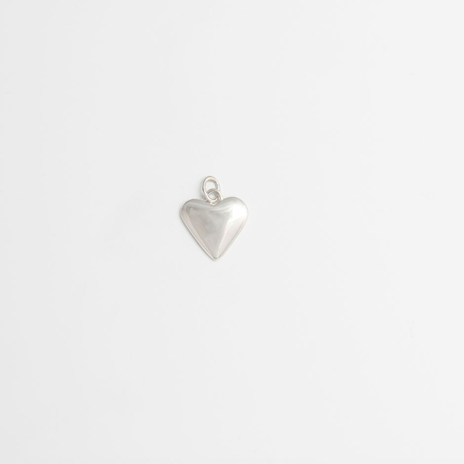 Heart Charm Sterling Silver Medium