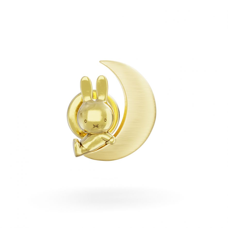 MIFFY & THE MOON 18CT GOLD VERMEIL PIN BROOCH