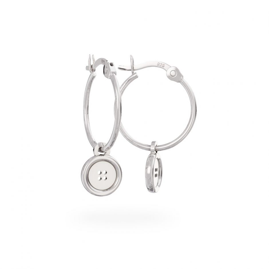 Miffy - Sterling Silver Button Hoop Earrings