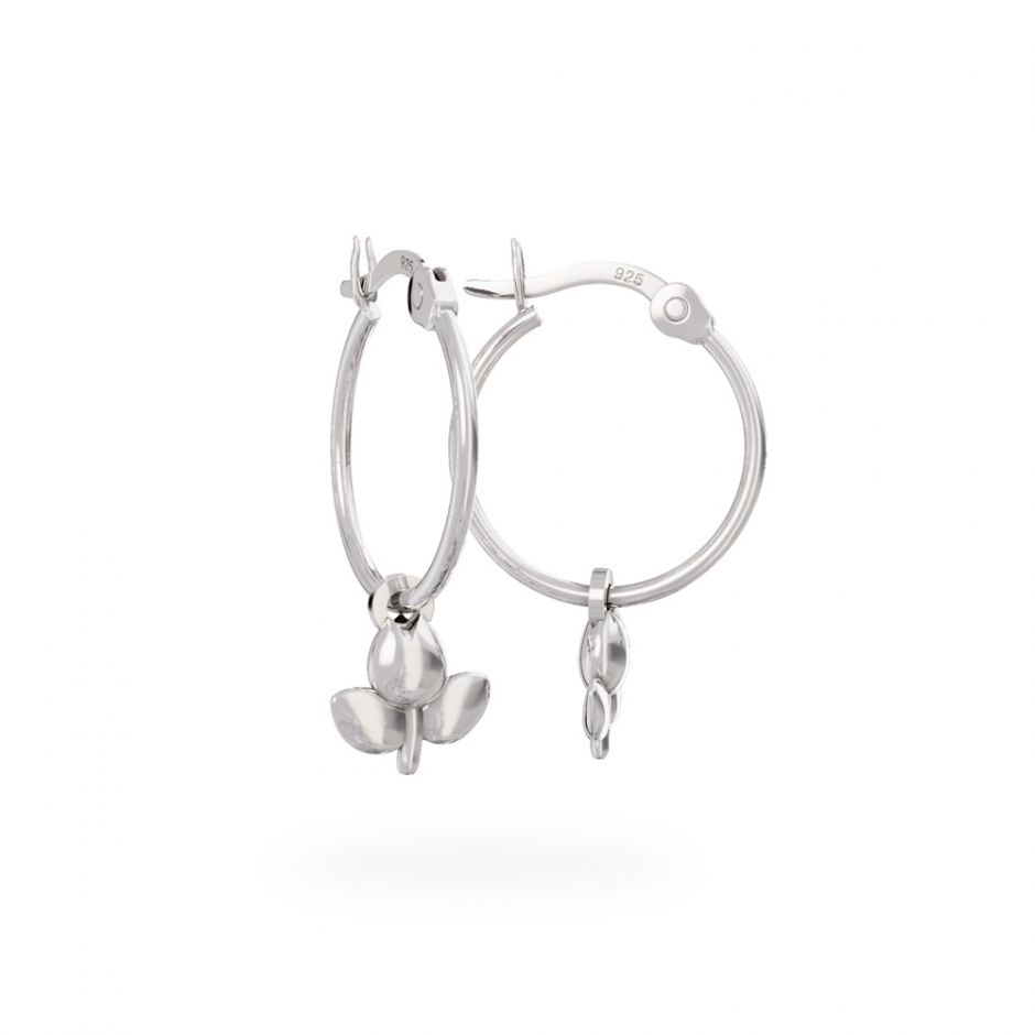 Miffy - Sterling Silver Tulip Hoop Earrings